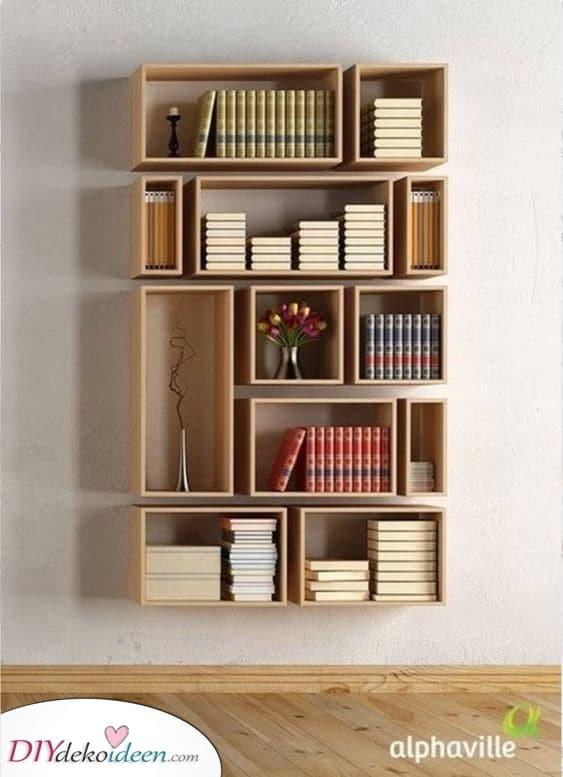 Brillante Holzkisten – Schlafzimmer Bücherregal-Ideen