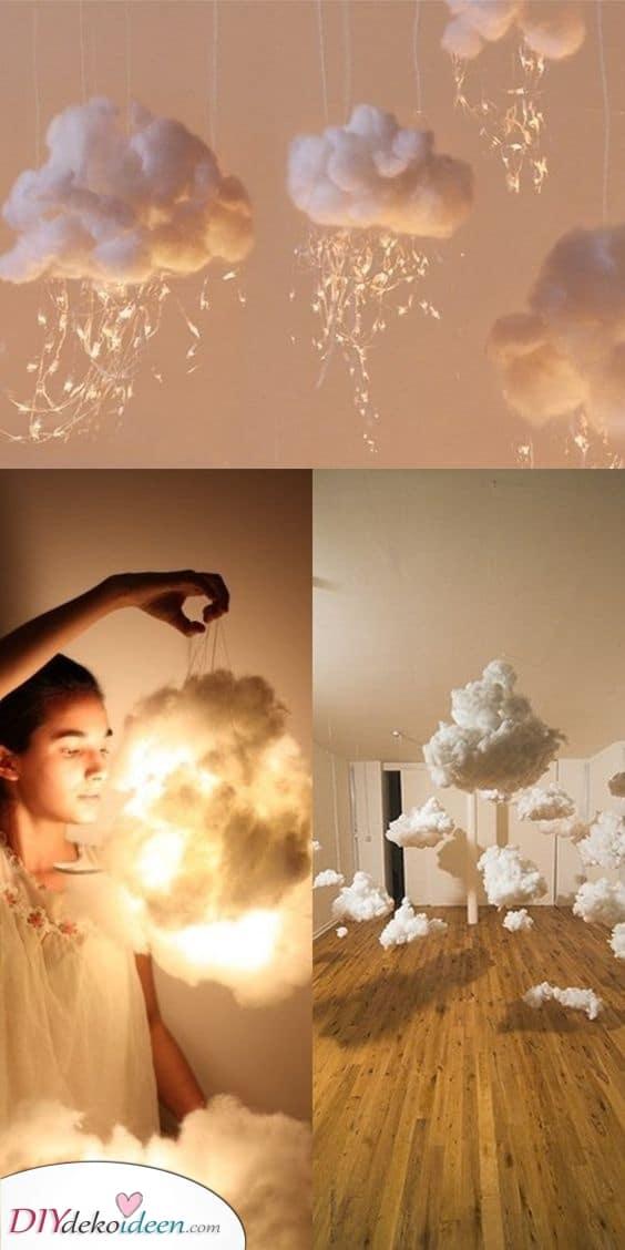 Flauschige Baumwollwolken – Dekorative Lichter als Schlafzimmerlampe
