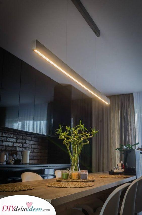 Eine lineare Lösung – Ideen für Ihre Esstisch Beleuchtung