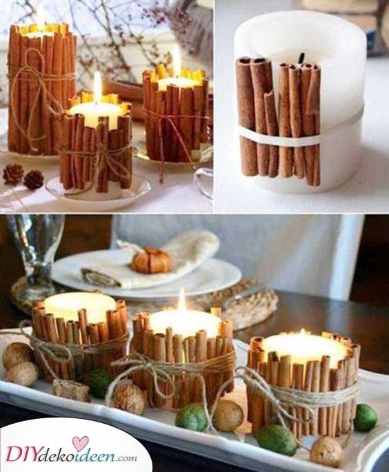 Zimtstangen – Kerzen für Ihre Herbst Tischdeko