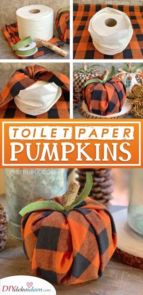 Toilettenpapier Kürbisse – Einfache DIY Bastelarbeiten