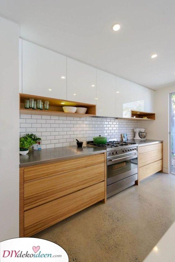 Weiß mit Holzakzenten – Schöne Küchenschrank Ideen