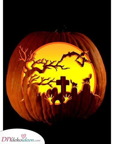 Ein gruseliger Friedhof – Halloween Kürbisgesichter