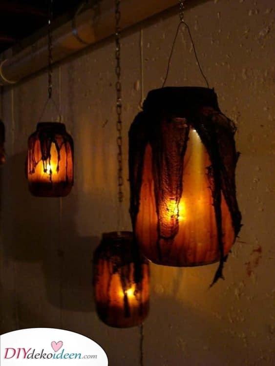 Hängende Laternen – Kreative Deko für Halloween
