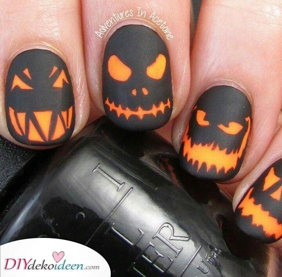 Gruselige Kürbisköpfe – Lustige Nageldesign für Halloween