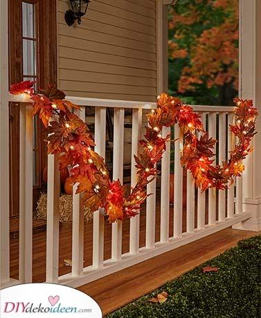 Eine Blätterkette – Herbstdeko für draußen