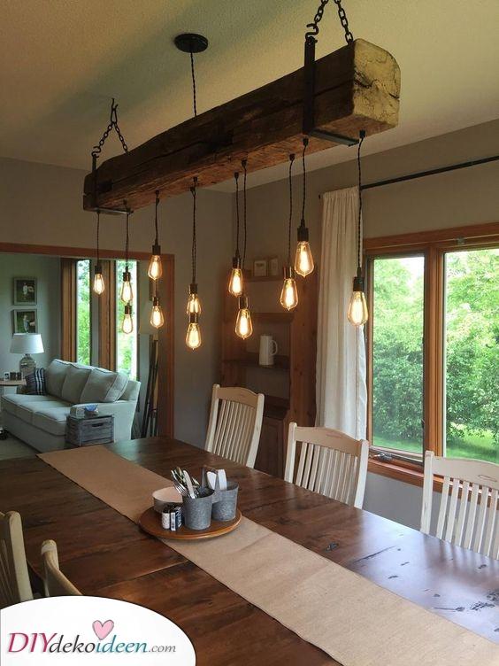 Ein wiedergewonnener Scheunenbalken – Atemberaubende und stilvolle Lampen fürs Esszimmer