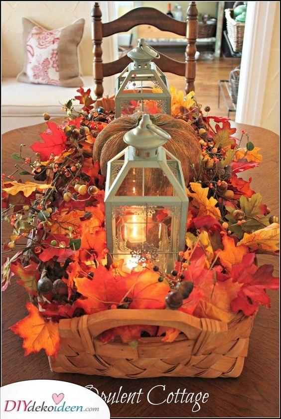 Kürbisse und Weinreben – Herbstdeko Ideen