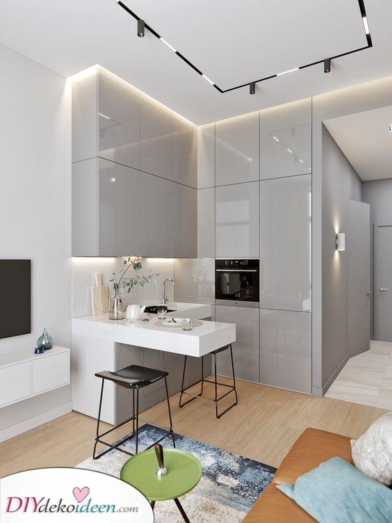 Eine Küche in der Ecke – Platzsparend