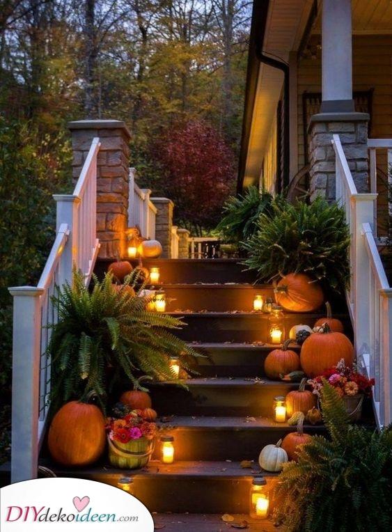 Beleuchten Sie die Treppe – Wunderschön und Herbstlich