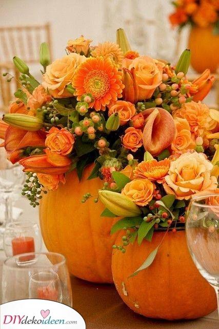 Eine Alternative zur Vase – Herbst Tischdeko die kreativ ist