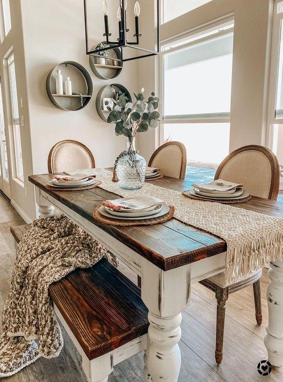 Rustikal und robust – Gemütlich und komfortabl Küchentisch mit Stühlen