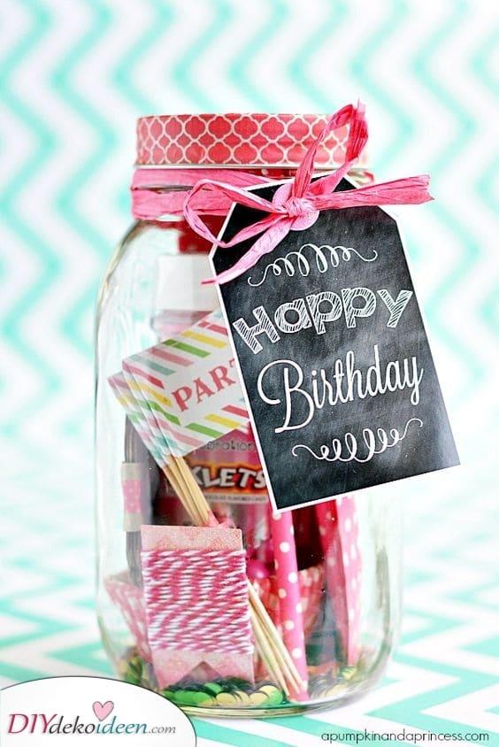 Geburtstagsglas – Süßes Geschenk für die Freundin zum Geburtstag