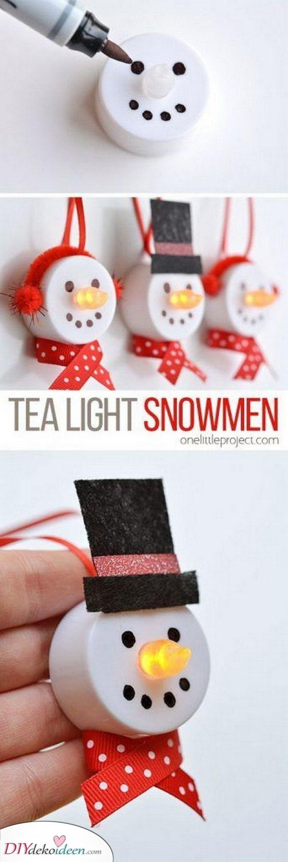 Teelicht Schneemänner – So süß