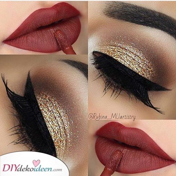 Gold und glamouröse Augen – Weihnachten Make up