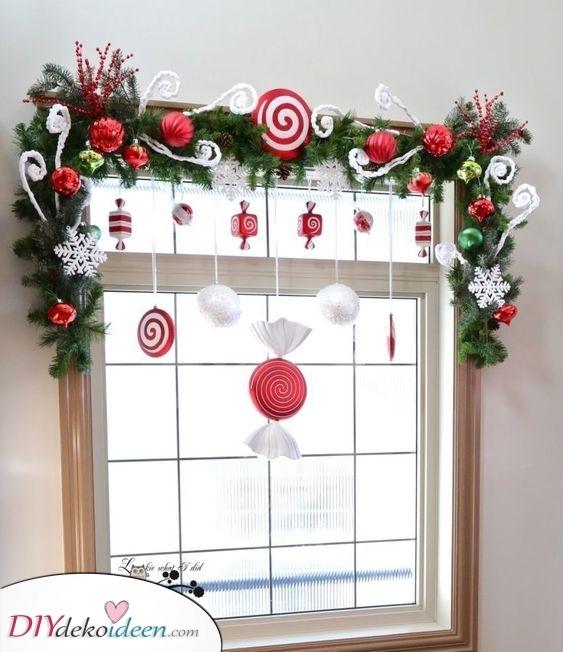 Leckereien und Süßigkeiten – Fenster Deko zu Weihnachten
