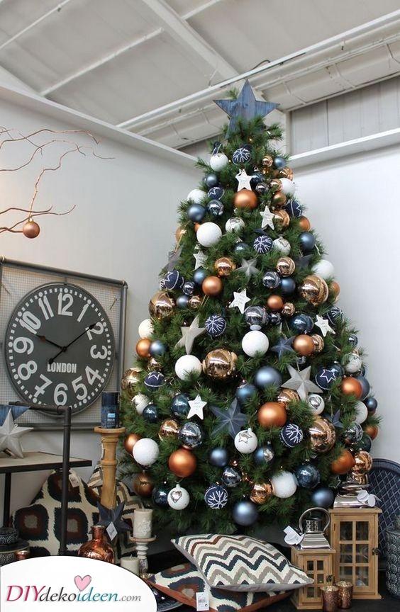 Blau und Gold – Weihnachtsbaum Dekoration