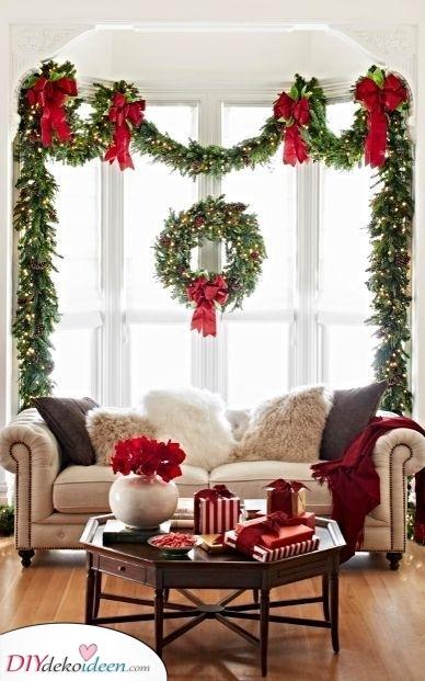 Elegant und raffiniert – Weihnacht kränze unter Fenstern
